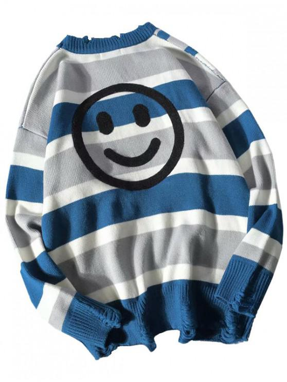 sale Letter Striped Pattern Colorblock Graphic Ripped Sweater - BLUE L