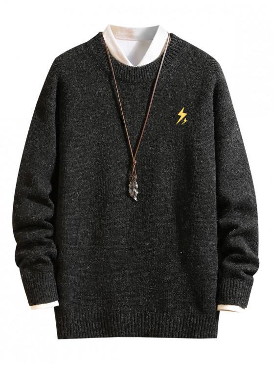 fancy Weather Pattern Graphic Sweater - BLACK S