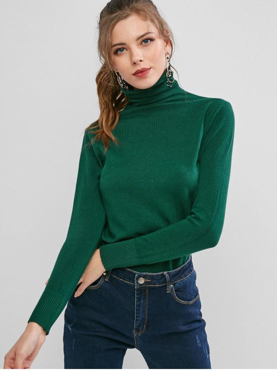 sale High Neck Ribbed Hem Plain Pullover Knitwear - DARK GREEN M
