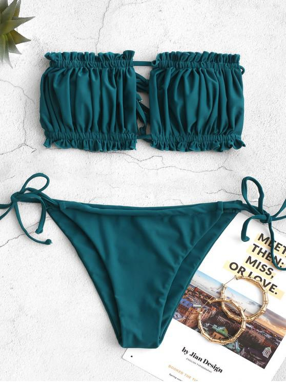 chic ZAFUL Ruffle Tie Side Low Waisted Bandeau Bikini Swimsuit - PEACOCK BLUE S