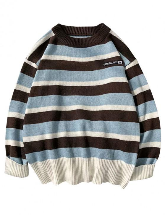 fashion Colorblock Striped Letter Embroidery Sweater - COFFEE M