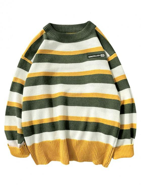 affordable Colorblock Striped Letter Embroidery Sweater - GREEN S