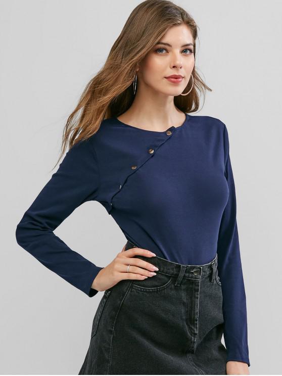 outfits Snap Button Placket Long Sleeve Bodysuit - CADETBLUE S