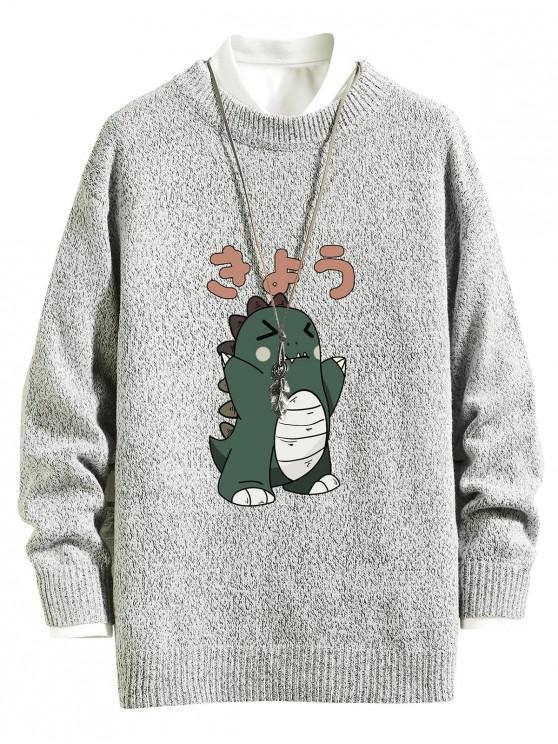 fancy Cartoon Dinosaur Graphic Crew Neck Sweater - PLATINUM L