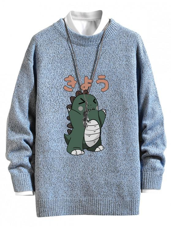 womens Cartoon Dinosaur Graphic Crew Neck Sweater - SEA BLUE L