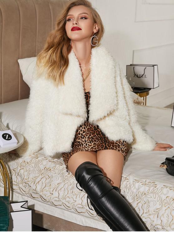 shop ZAFUL Fluffy Textured Open Front Jacket - MILK WHITE L