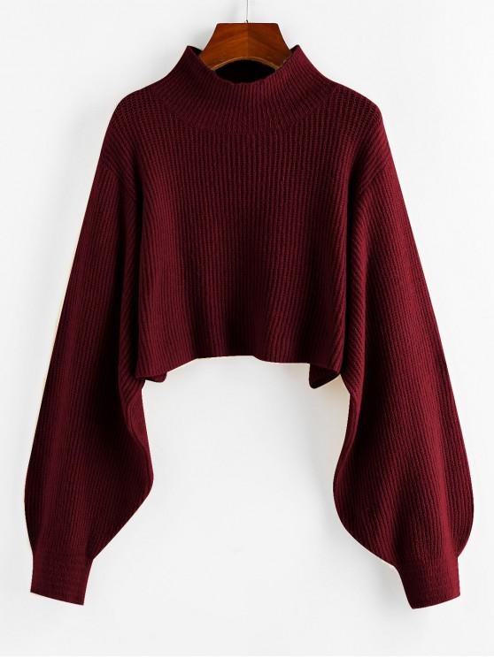 outfits ZAFUL Lantern Sleeve Cropped Sweater - RED WINE M