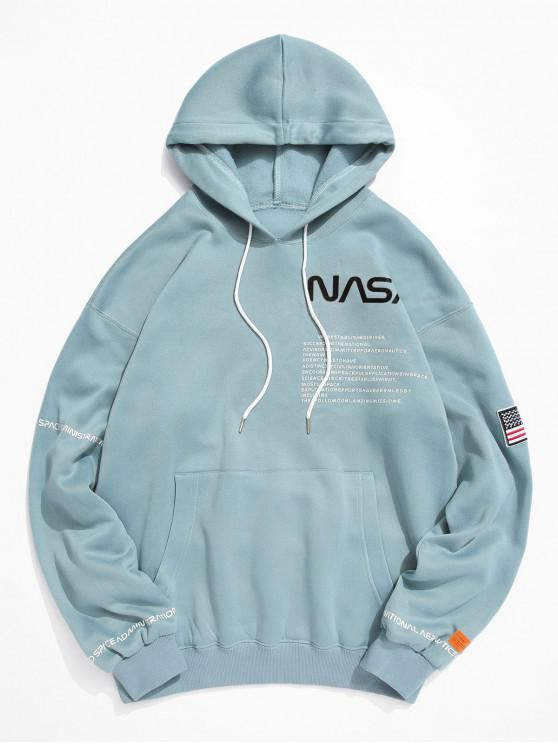 fancy American Flag Patched Drawstring Pocket Hoodie - MACAW BLUE GREEN XL