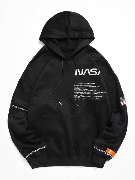 outfits American Flag Patched Drawstring Pocket Hoodie - BLACK M