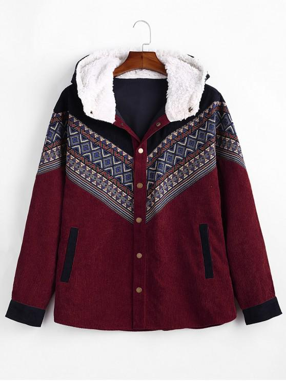 lady Tribal Geometric Chevron Spliced Fluffy Hooded Jacket - RED WINE S