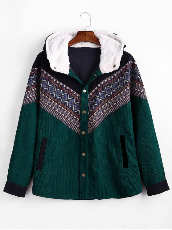 womens Tribal Geometric Chevron Spliced Fluffy Hooded Jacket - MEDIUM SEA GREEN M