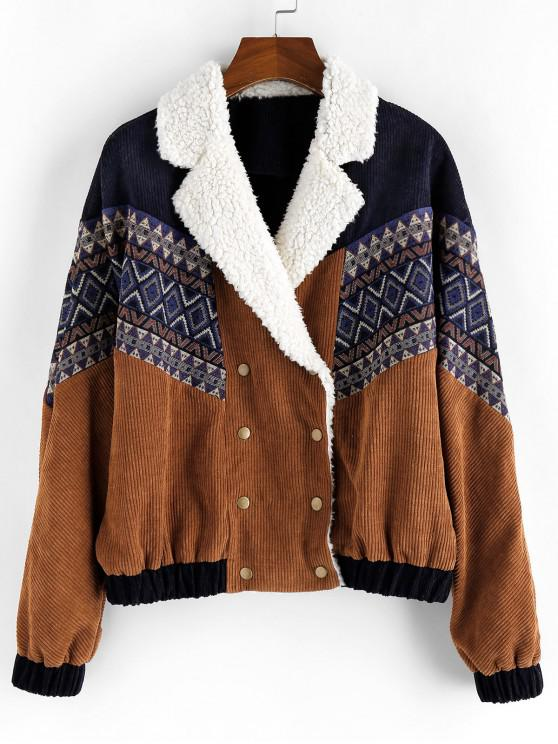 women's Tribal Printed Button Up Fluffy Jacket - BROWN L