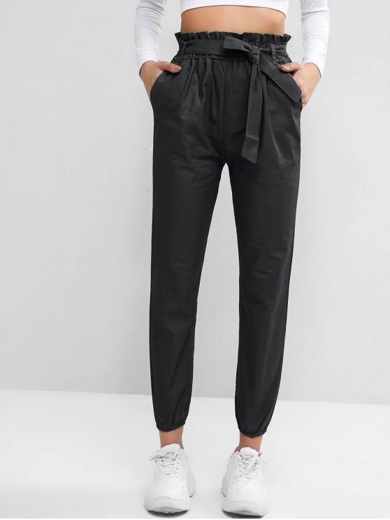 outfit Solid Pockets Belted Paperbag Jogger Pants - BLACK M