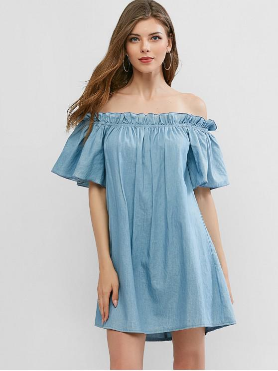 trendy ZAFUL Off Shoulder Chambray Mini Tunic Dress - JEANS BLUE S