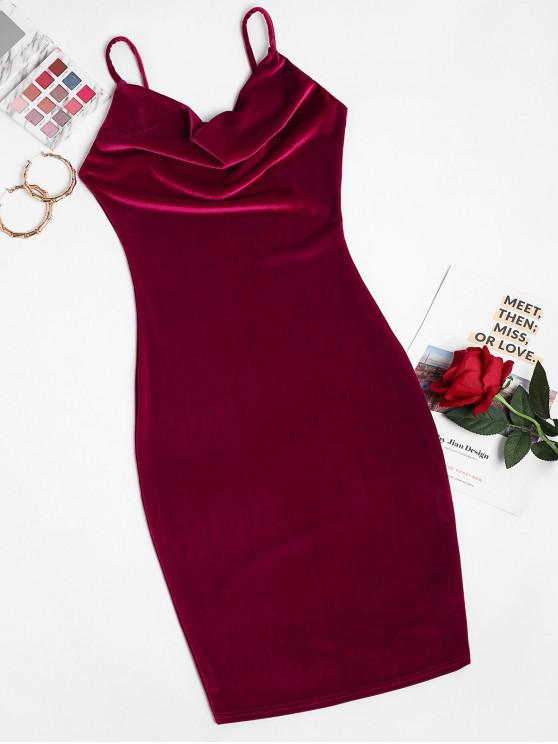 sale Cowl Front Velvet Bodycon Cami Dress - RED WINE S