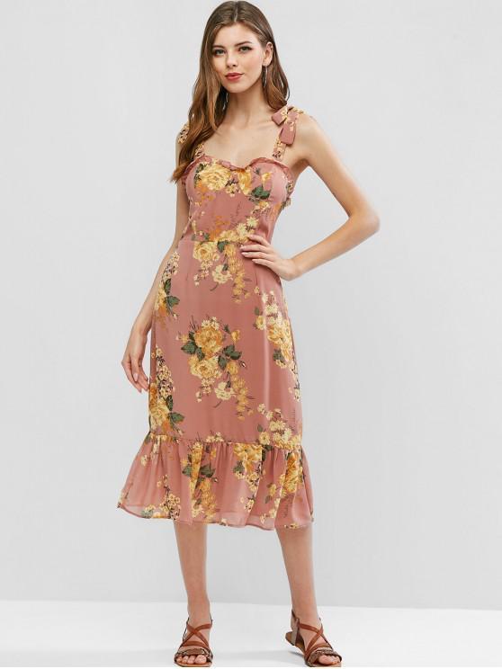 sale Tie Shoulder Smocked Back Floral A Line Dress - MULTI M