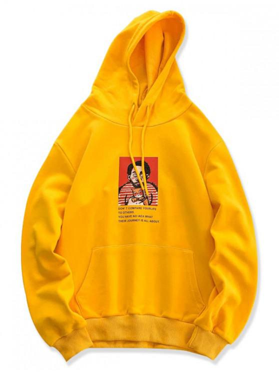 hot Character Men and Cat Letter Print Casual Hoodie - YELLOW M