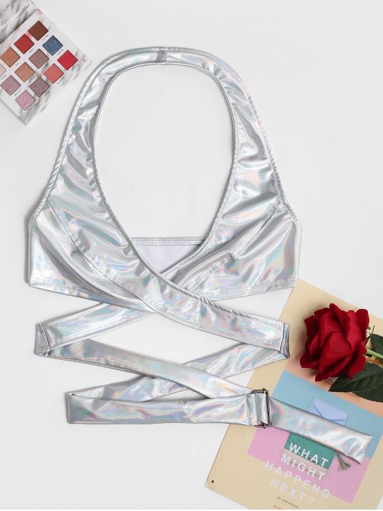 women's Metallic Halter Wrap Crop Top - SILVER M