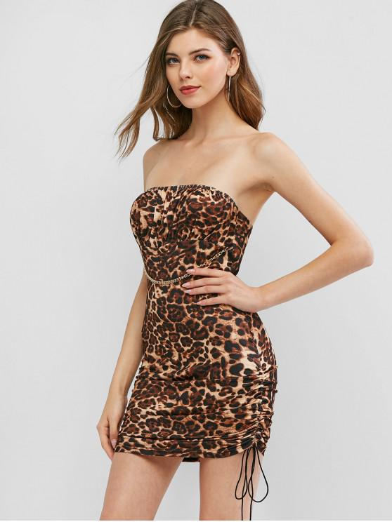 hot Chain Leopard Cinched Side Mini Dress - LEOPARD M