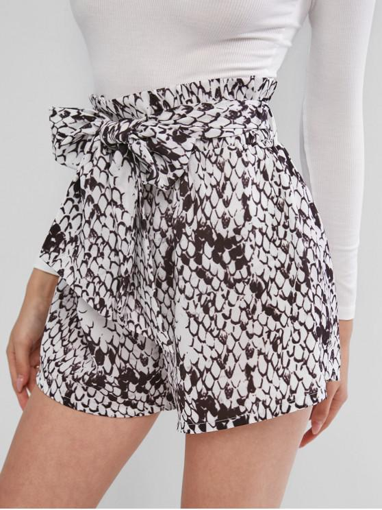 outfits ZAFUL Snakeskin Print Belted Paperbag Shorts - TAUPE M