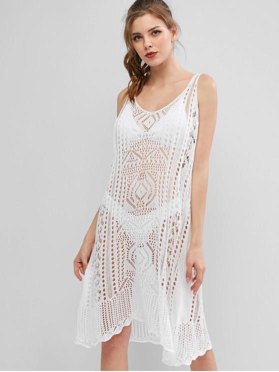 fashion Scalloped Trim Crochet Knit Beach Dress - WHITE ONE SIZE