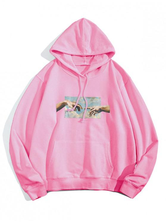 hot Helping Hands Graphic Front Pocket Lounge Hoodie - PINK XS