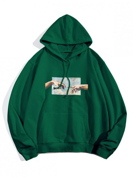 women Helping Hands Graphic Front Pocket Lounge Hoodie - JUNGLE GREEN L