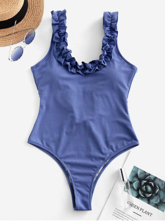 ZAFUL Frilled Low Back com nervuras de uma peça Swimsuit - Seda de Azul L