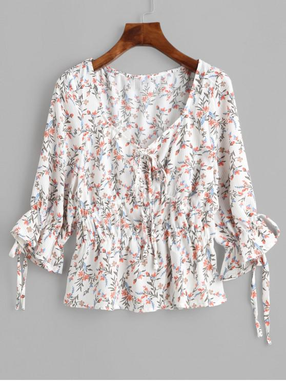 best Tiny Floral Tied Poet Sleeves Blouse - WHITE M