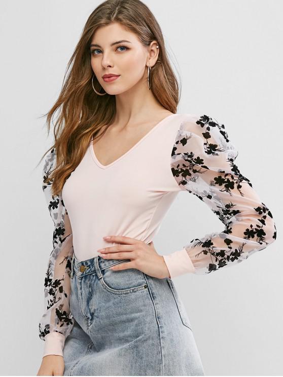 lady Double V Floral Jacquard Organza Sleeve Bodysuit - PINK M