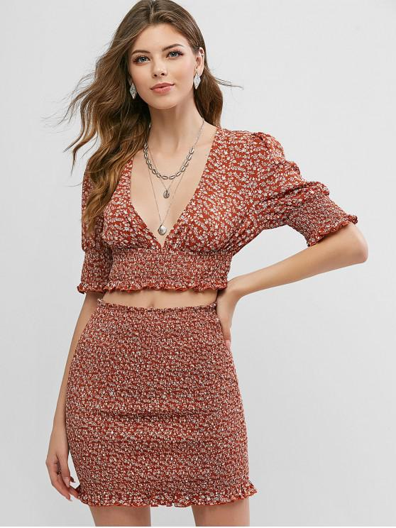 lady ZAFUL Ditsy Floral Plunge Smocked Two Piece Set - RUST L