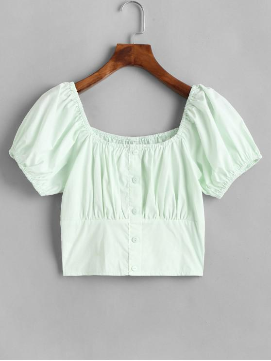 buy Buttoned Smocked Back Milkmaid Blouse - GREEN S