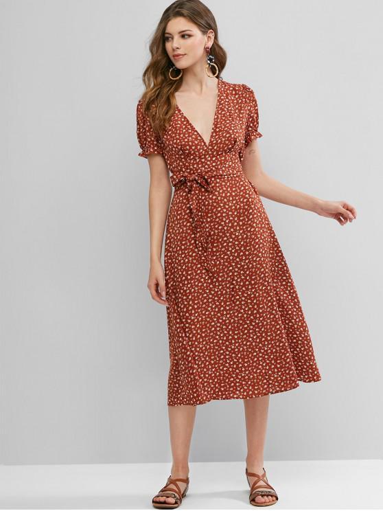 fashion ZAFUL Ditsy Print Plunging Ruffle Cuffs Midi Dress - CHESTNUT XL