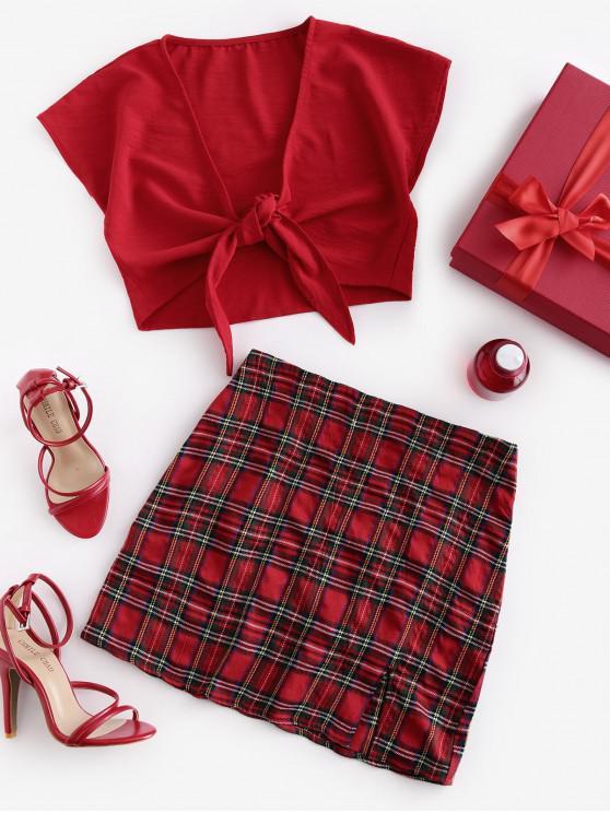 ZAFUL contrasto vestito di un pezzo Plaid Tie fessura della parte anteriore Due - Rosso S