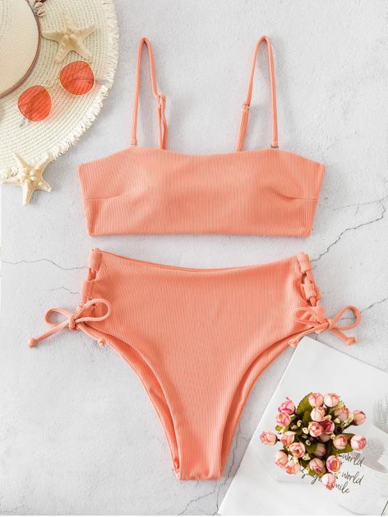 outfit ZAUFL Ribbed Lace Up High Waisted Bikini Swimsuit - DEEP PEACH L