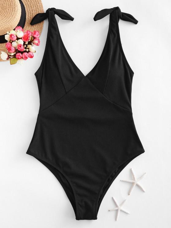 fashion ZAFUL Ribbed Knot One-piece Swimsuit - BLACK XL