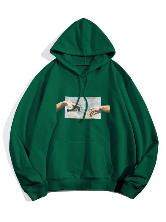 Sweat à Capuche Graphique avec Poche en Avant - Vert Jungle M