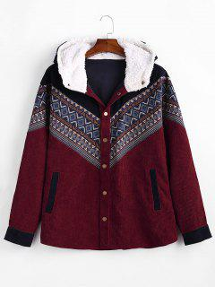 Tribal Geometric Chevron Spliced Fluffy Hooded Jacket - Red Wine S
