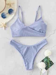 ZAFUL Ribbed High Leg Surplice Bikini Swimsuit - Lavender Blue S