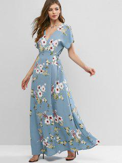 ZAFUL Maxi Robe Enveloppée Fleurie à Manches Fendues - Bleu Clair M