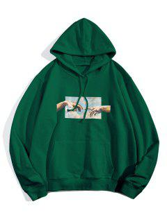 Helping Hands Graphic Front Pocket Lounge Hoodie - Jungle Green L