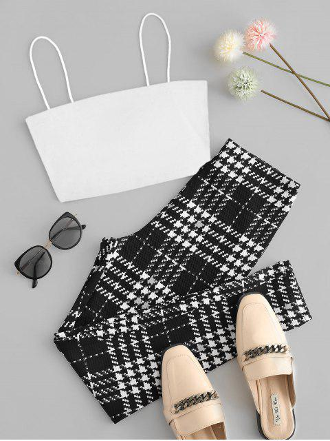 women's Cami Top and Houndstooth Skinny Pants Set - WHITE S Mobile