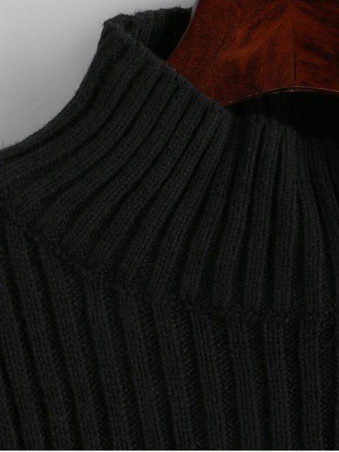 women Colorblock Mock Neck Crop Sweater - MULTI-B XL Mobile