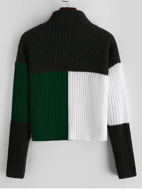 affordable Colorblock Mock Neck Crop Sweater - MULTI-B S Mobile
