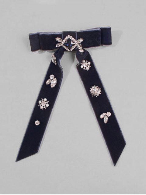 Cravate en Velours Ornée de Strass et Nœud - Bleu-gris  Mobile