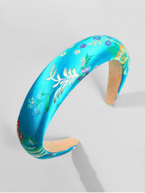 Bandeau de Cheveux Motif de Feuille Brodée - Bleu Tron  Mobile