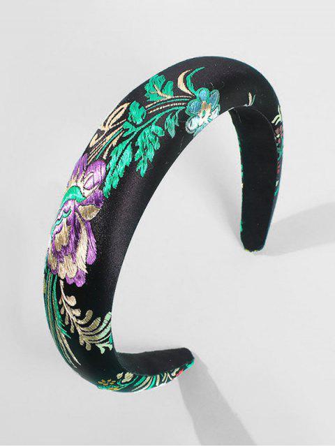 Bandeau de Cheveux Motif de Feuille Brodée - Noir  Mobile