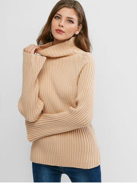 womens Turtleneck Raglan Sleeve Ribbed Knit Sweater - LIGHT KHAKI ONE SIZE Mobile