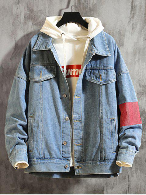 lady Graphic Pattern Button Up Denim Jacket - JEANS BLUE M Mobile