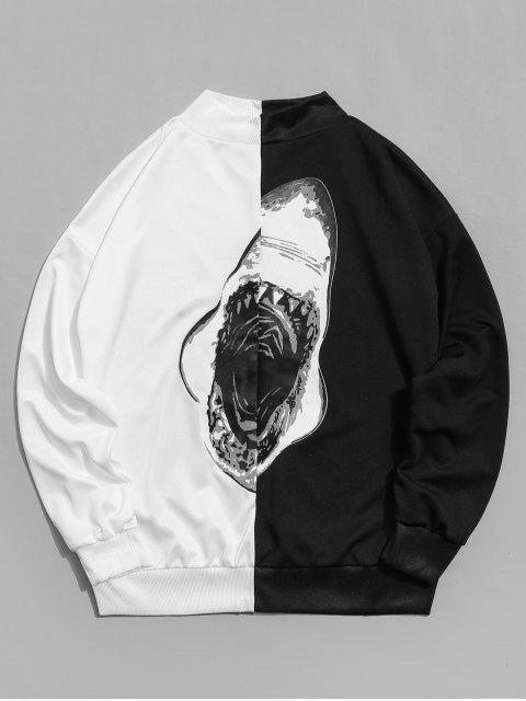 鯊魚嘴打印休閒套衫運動衫 - 白色 M Mobile